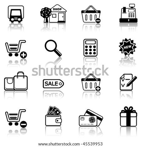 Shopping 2 icon set - stock vector