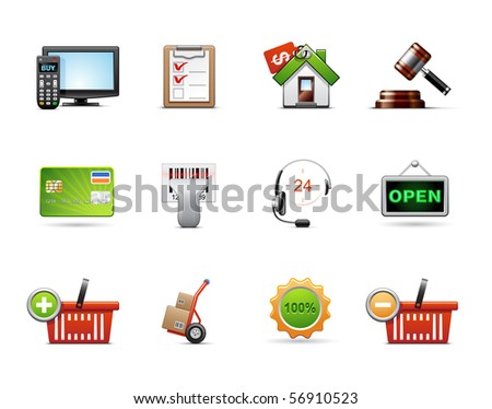 Shopping icon set - stock vector