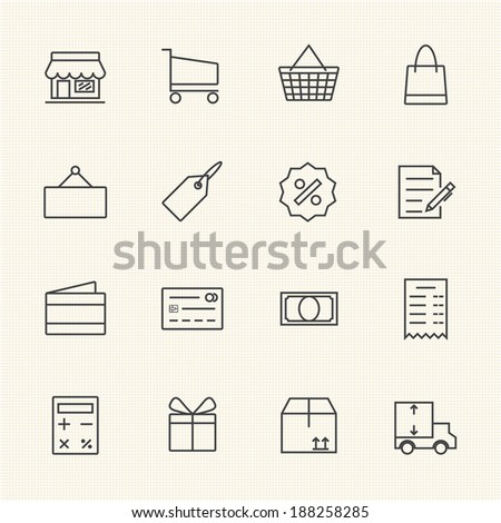 Shopping icon set, Line icon - stock vector
