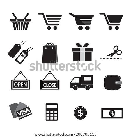 Shopping Icon Set. Simplus series - stock vector