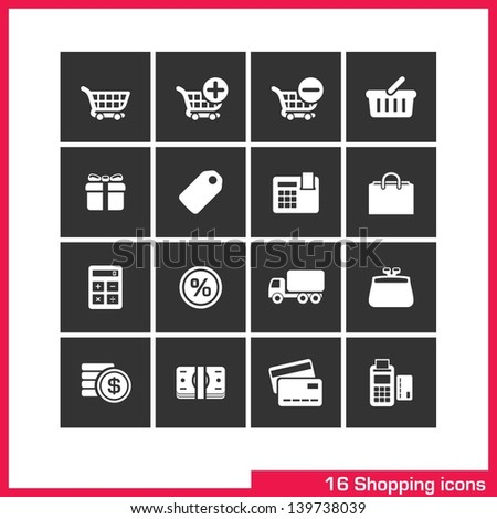 Shopping icon set. Vector white pictograms for web, computer and mobile apps, internet: cart, add, remove, basket, gift box, bag, label, cash, sale, delivery, wallet, purchase, money, and card symbol. - stock vector
