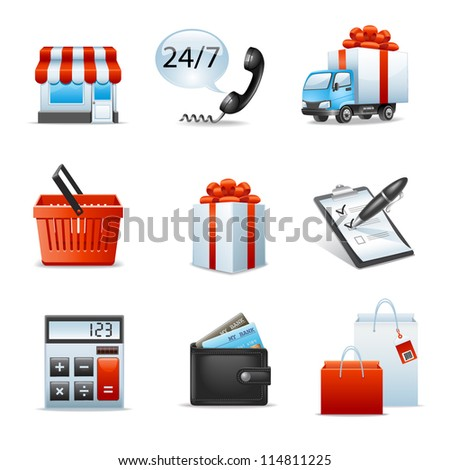 Shopping icons - stock vector