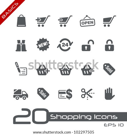 Shopping Icons // Basics - stock vector
