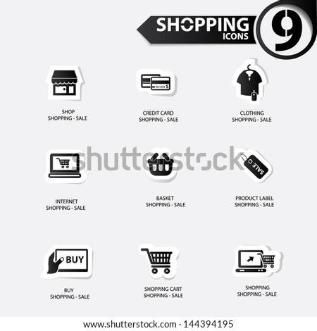 Shopping icons,Black version,vector - stock vector