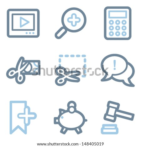 Shopping icons, blue line contour series - stock vector