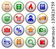 Shopping Icons. Colorful round buttons, vector illustration - stock photo