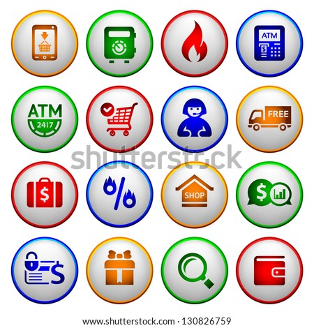 Shopping Icons. Colorful round buttons, vector illustration - stock vector