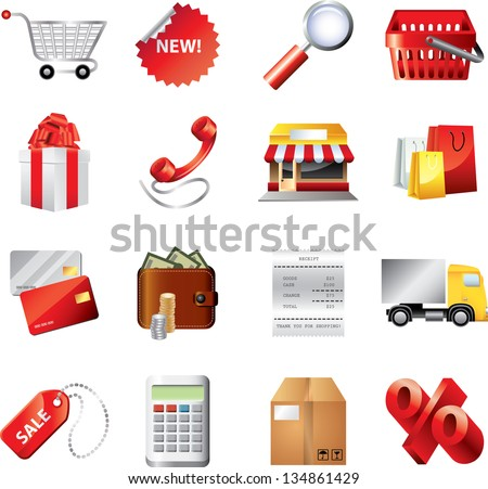 shopping icons detailed vector set - stock vector