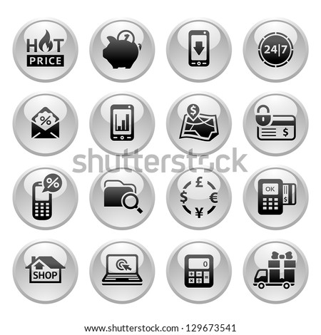 Shopping Icons, Gray round buttons new, vector illustration - stock vector