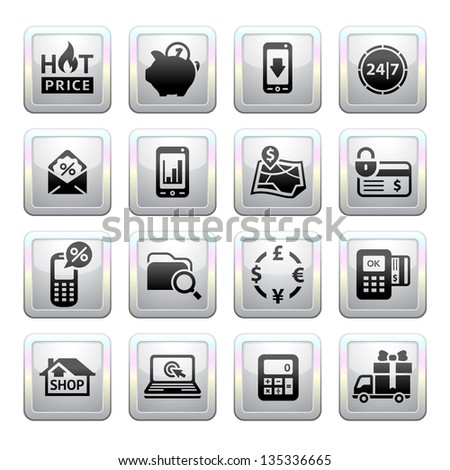 Shopping Icons. Gray. Web 2.0 icons, vector illustration - stock vector
