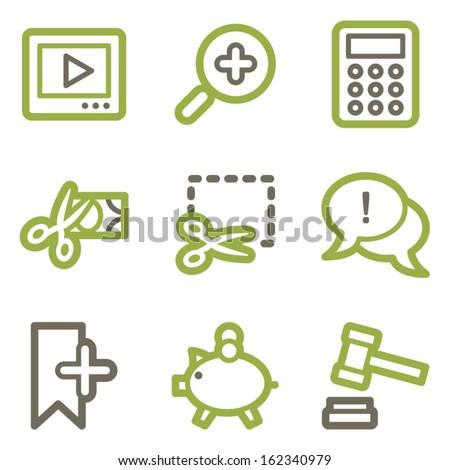 Shopping icons, green line contour series - stock vector