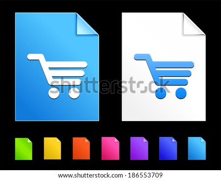 Shopping Icons on Colorful Paper Document Collection