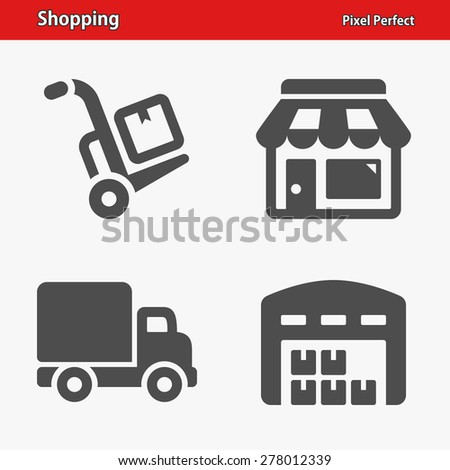 Shopping Icons. Professional, pixel perfect icons optimized for both large and small resolutions. EPS 8 format. - stock vector