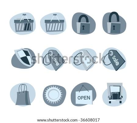 Shopping Icons Retro Revival Monochrome  Collection - Set 9 - stock vector