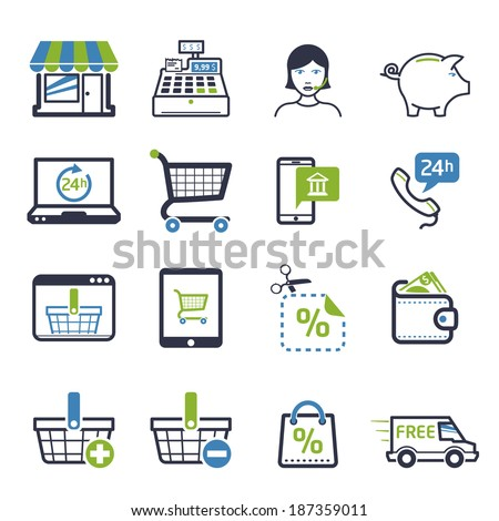 Shopping icons set 01 - stock vector