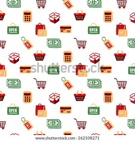 Shopping Icons Set and Signs pattern - freehand drawing vector illustration - stock vector