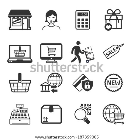 Shopping icons set 02 // BW - stock vector