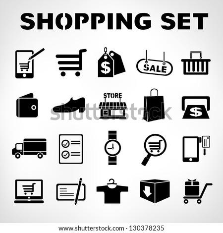 shopping icons set, e commerce set - stock vector
