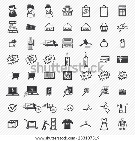 Shopping Icons Set. illustration eps10 - stock vector