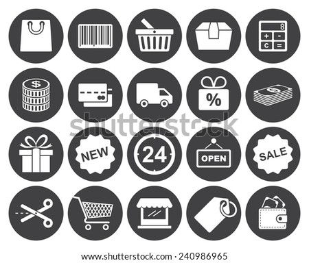 Shopping icons set (modern flat design) - stock vector