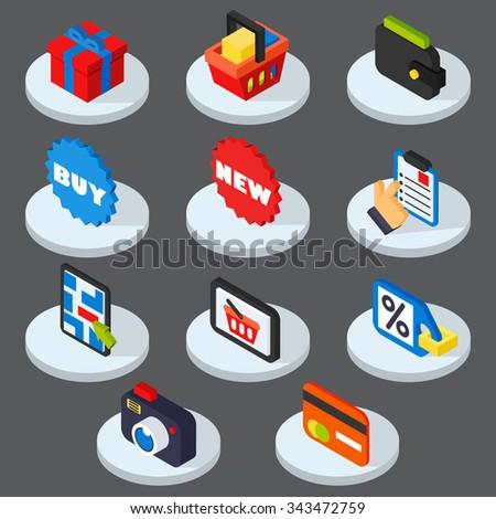 Shopping icons set modern trendy  vector illustration - stock vector