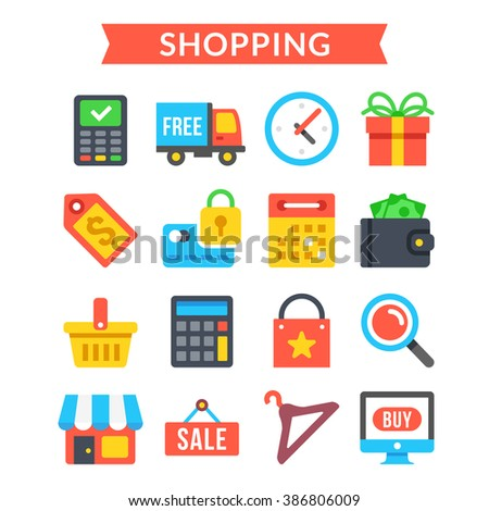 Shopping icons set. Shopping, online commerce, retail, ecommerce, internet marketing concepts. Modern flat design icons set for website, web banners, mobile apps, infographics. Vector icons set - stock vector