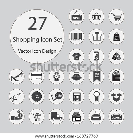 Shopping icons set.Vector illustration. - stock vector