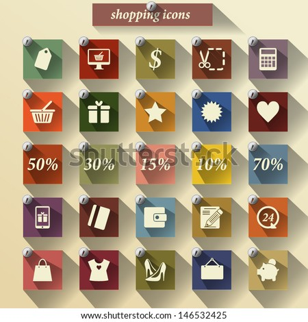Shopping icons set. Vector pictogram. Retro stickers icons. - stock vector