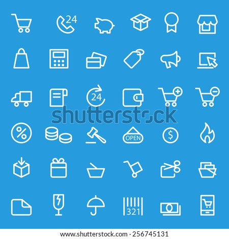Shopping icons, simple and thin line design - stock vector
