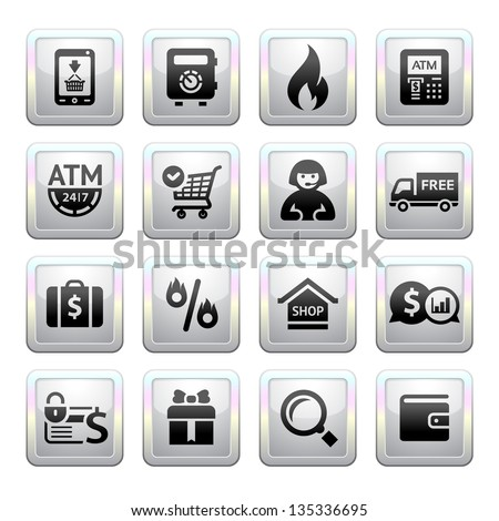 Shopping Icons. square gray. Web 2.0 icons, vector illustration - stock vector
