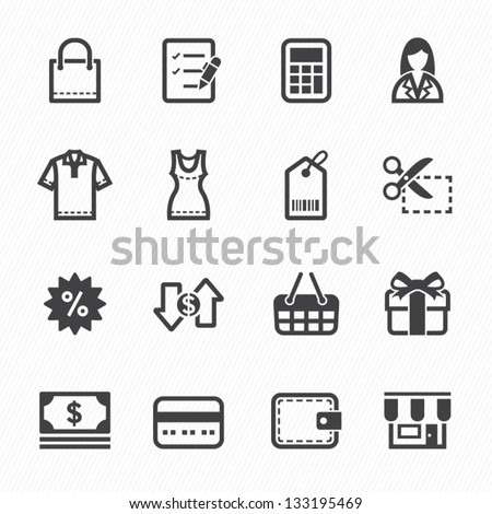 Shopping Icons with White Background - stock vector