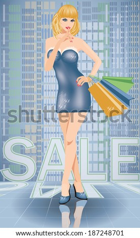 Shopping in city. Sexy woman with shop bags, vector illustration - stock vector