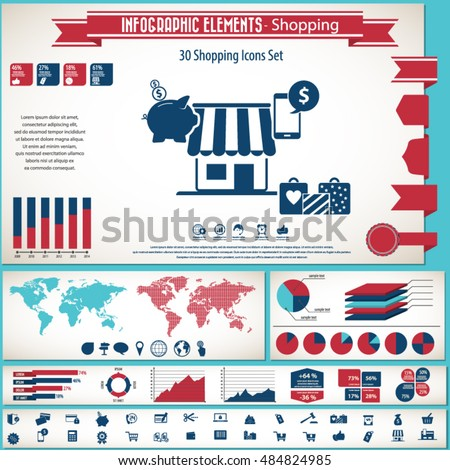 Shopping - infographic elements and icons set.