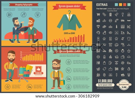 Shopping infographic template and elements. The template includes illustrations of hipster men and huge awesome set of thin line icons. Modern minimalistic flat vector design. - stock vector