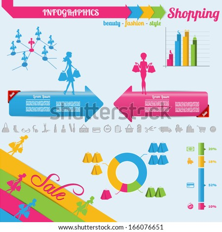 Shopping infographics and shopping icons - stock vector