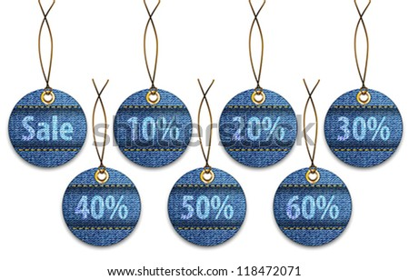 Shopping labels made of jeans. Price tags like Christmas balls. Vector illustration - stock vector