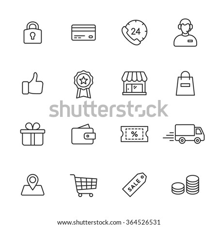 Shopping line icons - stock vector