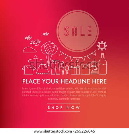 Shopping line icons with blurred background/Sales promotion banner design with text/Abstract unfocused blurred background with online store and business icons set - stock vector