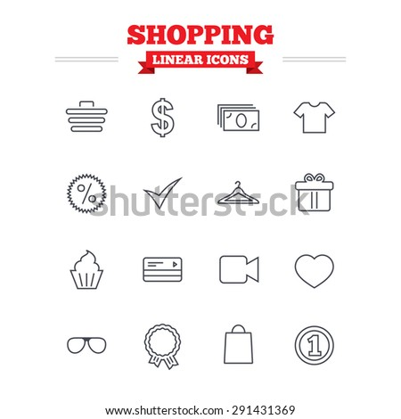 Shopping linear icons set. Shopping cart, dollar currency and cash money. Shirt clothes, gift box and hanger. Credit or debit card. Thin outline signs. Flat vector - stock vector