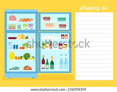 Shopping List Flat Style Refrigerator Illustration With Text Place - stock vector