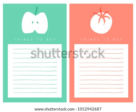 Shopping list template decorated apple tomato stock vector for Grocery list template for mac