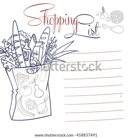 Shopping list. vector illustration bags of food. Coloring