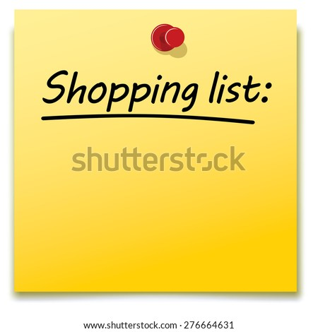 shopping list, yellow paper note pinned to a notice board - stock vector