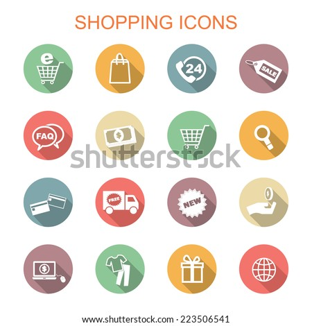 shopping long shadow icons, flat vector symbols - stock vector