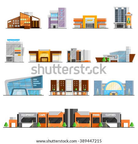 Shopping mall building orthogonal icons set with cafe and clothes symbols flat isolated vector illustration  - stock vector