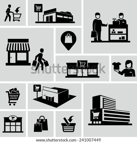 Shopping mall icons - stock vector