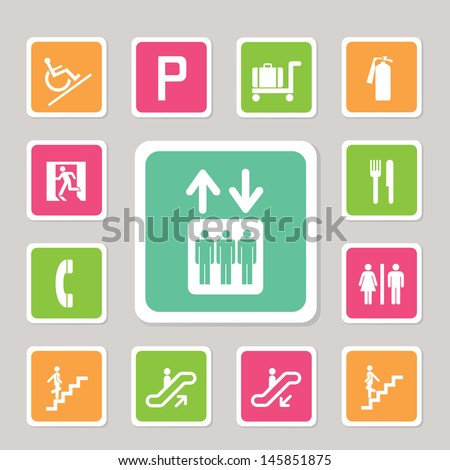 shopping mall icons set for use - stock vector
