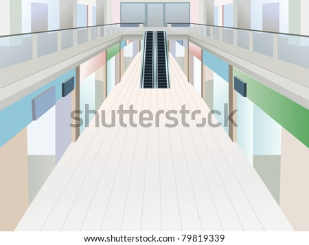shopping mall with two floors, vector - stock vector