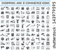 shopping, marketing and e-commerce icon set, 100 icons - stock vector