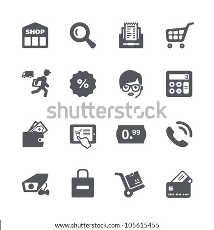 Shopping minimalistic simple icons - stock vector